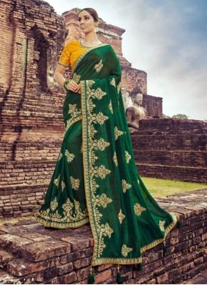 Latest Zari Silk Green Classic Saree