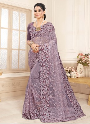 Lavender Embroidered Trendy Saree