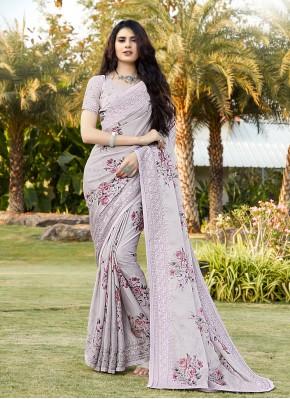Lavender Embroidered Wedding Trendy Saree