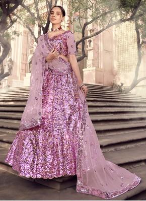 Lavender Engagement Net Lehenga Choli