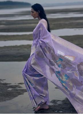 Lavender Linen Weaving Classic Saree