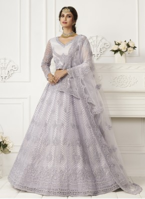 Lavender Net Embroidered Lehenga Choli