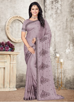 Lavender Patch Border Silk Traditional Designer Saree
