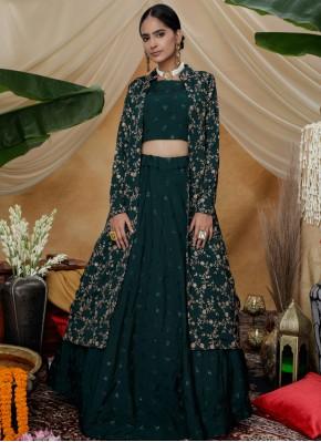 Lavish Chinon Wedding Long Choli Lehenga