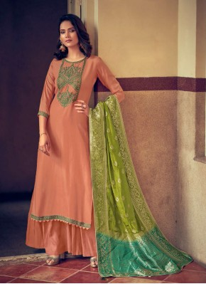 Lavish Peach Embroidered Designer Palazzo Suit