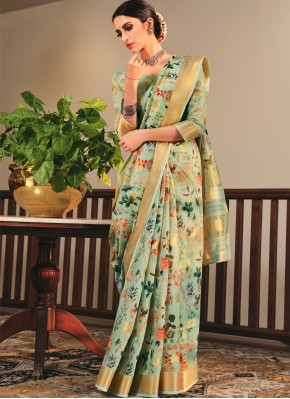 Lavish Sea Green Printed Saree