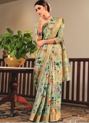 Lavish Sea Green Printed Saree