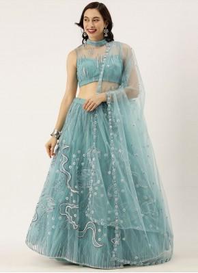 Lehenga Choli Embroidered Net in Blue