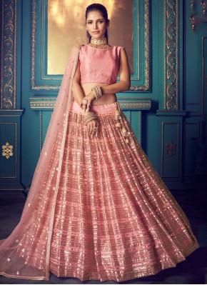 Lehenga Choli Embroidered Net in Pink