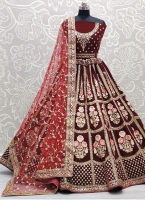 Lehenga Choli Embroidered Velvet in Maroon