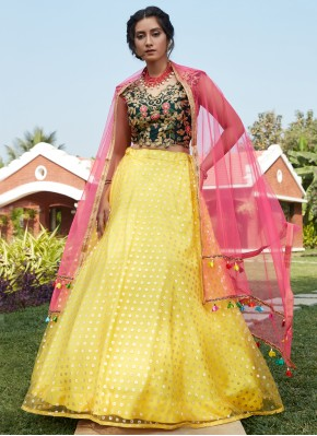 Lehenga Choli Fancy Net in Yellow