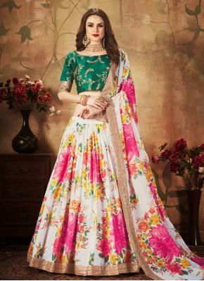 Lehenga Choli Floral Print Organza in Multi Colour