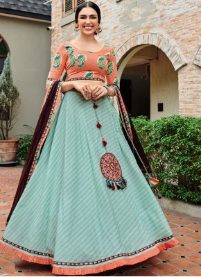 Lehenga Choli Print Rayon in Sea Green