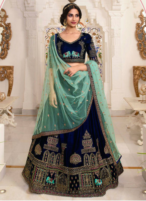 Lehenga Choli Resham Net in Blue
