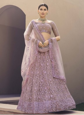 Lehenga Choli Sequins Net in Lavender