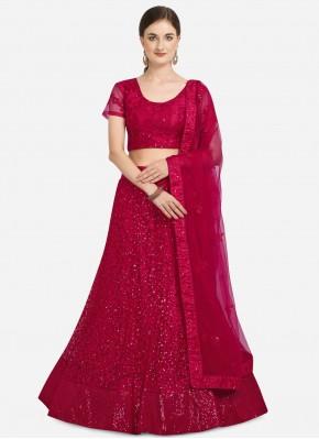 Lehenga Choli Sequins Net in Pink