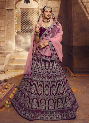 Lehenga Choli Sequins Velvet in Wine