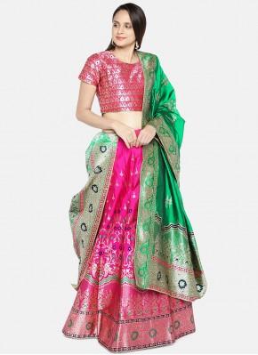 Lehenga Choli Woven Banarasi Silk in Hot Pink