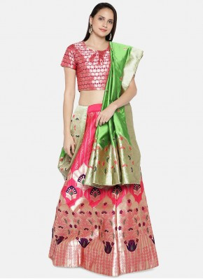 Lehenga Choli Woven Banarasi Silk in Pink
