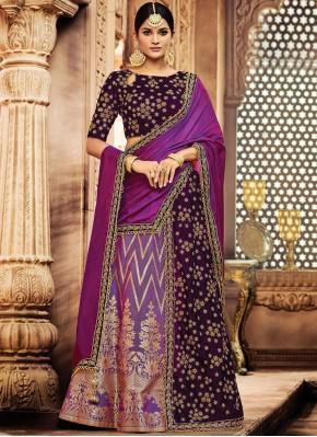 Lehenga Choli Zari Jacquard Silk in Purple