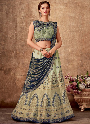 Light Green Silk Designer Woven Lehenga Saree with Embroidered Blouse