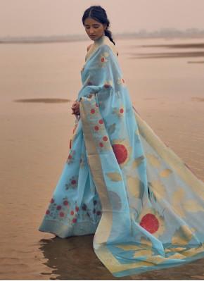 Linen Aqua Blue Weaving Contemporary Saree