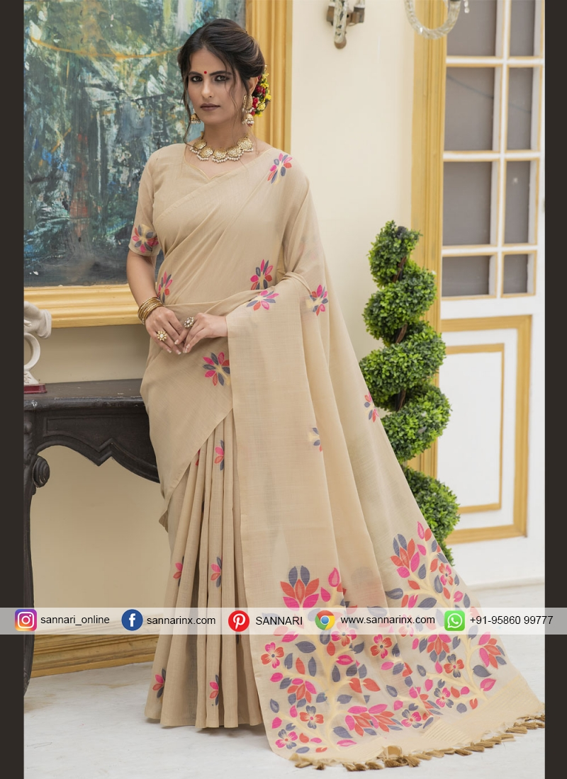 Linen Beige Trendy Saree