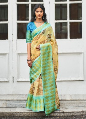 Linen Classic Designer Saree in Green