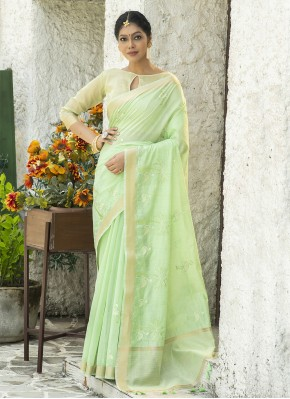 Linen Embroidered Classic Designer Saree in Green