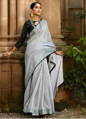 Linen Grey Lace Casual Saree