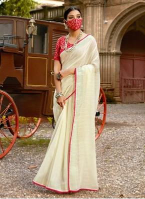 Linen Off White Lace Classic Saree
