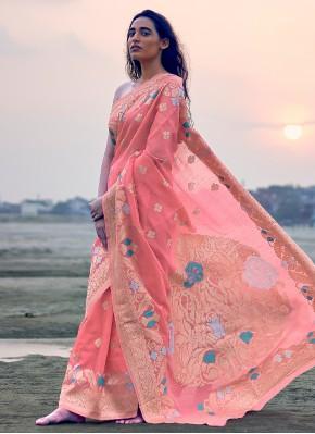 Linen Pink Designer Saree