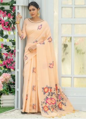 Linen Print Peach Printed Saree