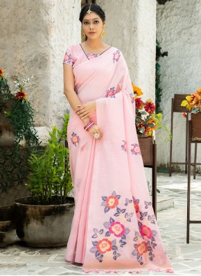 Linen Printed Saree in Pink