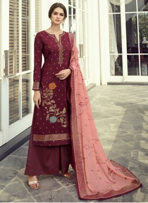 Lively Fancy Fabric Maroon Embroidered Designer Pakistani Suit
