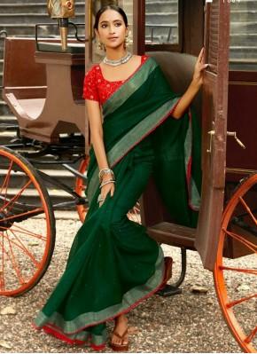 Lively Green Linen Saree