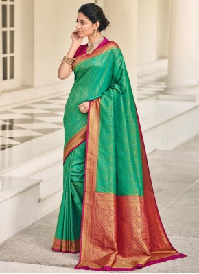 Lively Green Reception Classic Saree