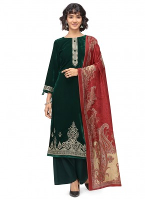 Lively Green Velvet Trendy Salwar Suit