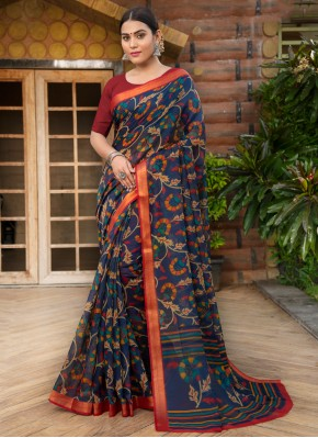 Lively Multi Colour Cotton Silk Contemporary Saree