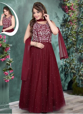 Lively Net Maroon Embroidered Gown