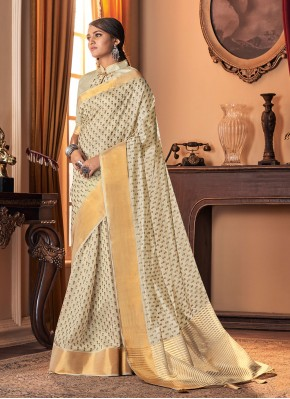 Lively Printed Cream Traditional Designer Saree