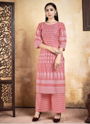 Lively Rayon Pink Printed Designer Kurti