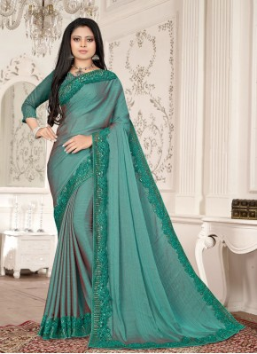 Lively Sea Green Embroidered Fancy Fabric Designer Saree