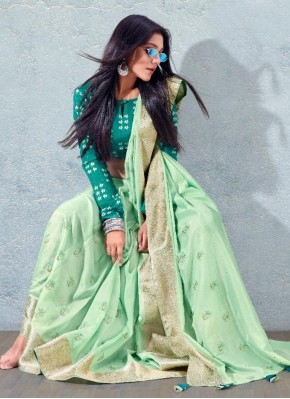 Lively Sea Green Fancy Traditional Saree