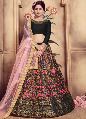 Lovable Black Art Silk Trendy Lehenga Choli