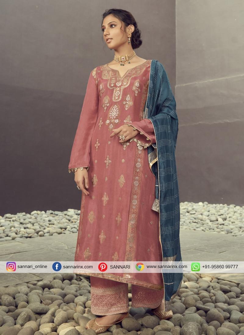 Lovable Jacquard Silk Designer Palazzo Suit