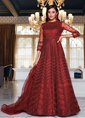 Lovable Net Sequins Floor Length Anarkali Suit