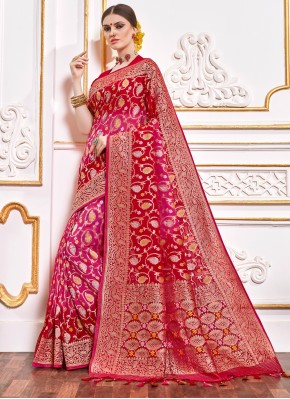 Lovable Red Weaving Designer Contemporary Saree