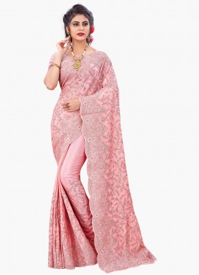 Lovable Resham Faux Chiffon Pink Designer Saree