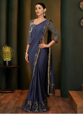 Lovable Sequins Net Blue Traditional Saree